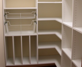 Bedroom closet cabinets and shelving